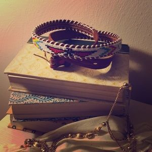 Accessories - Vintage Genuine Leather Beaded Belt
